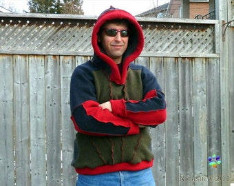 Wool Hoodie Lambswool Red Navy Grey and Olive Green Upcycled Sweater