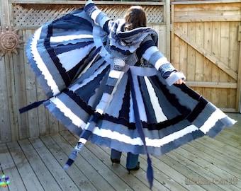 Sweater Coat Merino Lambs Wool Upcycled Bohemian Chic Cerulean Teal Cobalt Baby Navy Blue Elf Coat