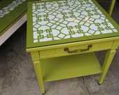 Mid Century Coffee Table and End Tables with a Painted Fretwork Pattern in Green and White