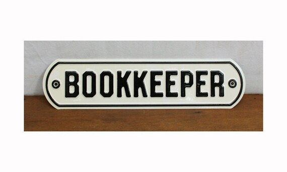 """Vintage """"Bookkeeper"""" Office Sign -- Mint Condition"""