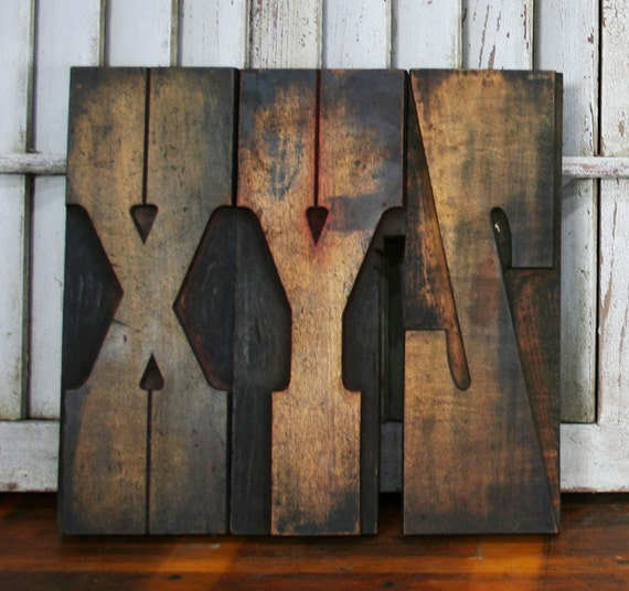 "Vintage Wood Letterpress ""XYZ"" Sign -- ca. 1890's"