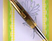 Handcrafted Wooden Pen Hand Turned Cone and Acrylic Blank and Chrome and Gold Hardware 226O