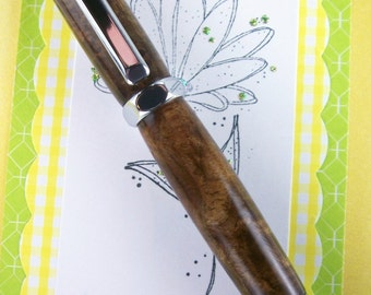 Handcrafted Walnut Burl Rollerball Pen Hand Turned with Chrome Trim 188RBH