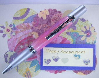 Handcrafted Acrylic Pen Hand Turned Pink and Purple Acrylic Blank and Chrome and Brushed Chrome Hardware 227O