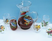 West Virgina Glass American Song Bird Pitcher and 6 Glasses