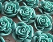 Resin Cabochon / 6 pcs Dark Teal Resin Flowers / Rose Cabochons 22mm