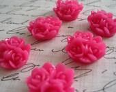 Flower Cabochon / 6 pcs Hot Pink Resin Flower Cabochon / 16mm Triple Bloom Cabochon
