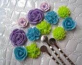 Resin Flower Cabochon Kit with Silver Bobby Pins... 24 pc Cabochon Kit with Bobby Pins / Resin Dahlia Mum Rose Cabochon Kit