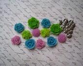 Flower Cabochon Kit with Earring Blanks.. 24 pc Resin Rose Dahlia Flowers ... DIY Earring Kit