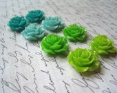 Resin Roses... 8 pcs Flat Back Resin Rose in Turquoise, Aqua, Lime Green and Spring Green 20mm