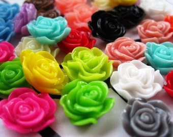 Resin Cabochons / Flower Cabochons/ 20 pcs Resin Roses / Mixed Lot / 13mm