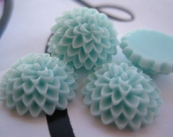 8 pc Light Aqua 15mm Resin Dahlia Mum Cabochon Flowers Flat Back Resins Perfect for Rings, Bobby Pins and more