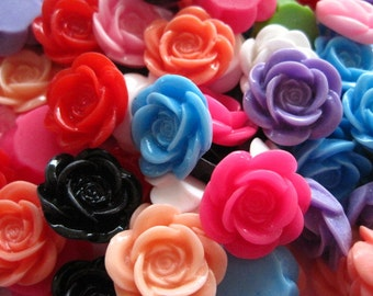 Cabochon Flowers/ Resin Flower Cabochons 12 pc Mixed Lot 18mm..Perfect for Rings, Bobby Pins and more