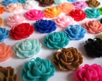 Resin Cabochons / Resin Flower Cabochons 24 pc Mixed Lot 18mm x 16mm.... Perfect for Bobby Pins