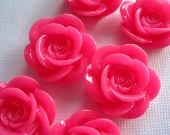 Resin Flower Cabochons / 6 pcs Pink Resin Flowers / Rose Cabochons 18mm