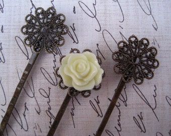 Bobby Pin Blanks / 12 pcs Antique Bronze Filigree Hair Pin / Bobby Pin with Pad for Cabochon Flowers