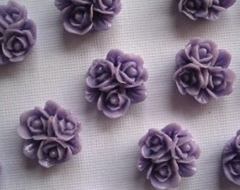 Resin Flower Cabochon / 6 pc / 16mm x 16mm Triple Bloom Flower Cabochon/ Purple