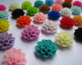 Resin Cabochon Flowers / 24 pcs 15mm Dahlia Mum Cabochons / Mixed Lot