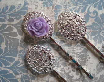 Silver Bobby Pin Blanks / 6 to 15 pcs Silver Oval Hair Pin / Bobby Pin with Pad for Cabochon Flowers