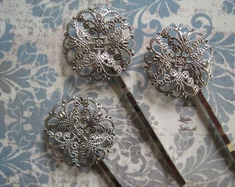 Bobby Pin Blanks / 12 pcs Silver Filigree Flower Hair Pin / Bobby Pin with Pad for Cabochon Flowers