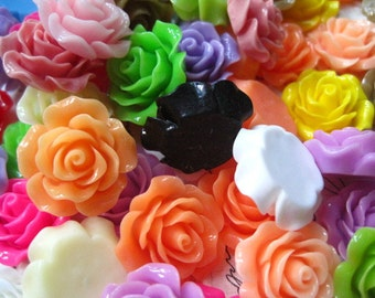 Resin Cabochon Flower / 6 to 20 pcs Mixed Lot Roses Cabochon Flat Back 20mm