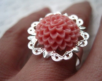 Adjustable Ring Finding / 6 pcs Silver Toned Filigree Ring Component ...Just Add Your Resin Cabochon