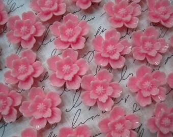 Resin Sakura Flowers 6pcs Pink Resin Cabochon Flower 20mm