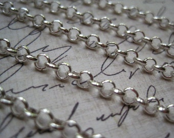 Rolo Chain / Cross Chain / 10 to 20 Feet Silver Color Open Link Chain / 4mm / Lead Free / Necklace Finding