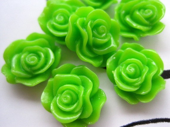Resin Cabochons / Resin Flowers / Spring Green Roses Resin Flower Resin Cabochon Flat Back 13mm 6 pcs