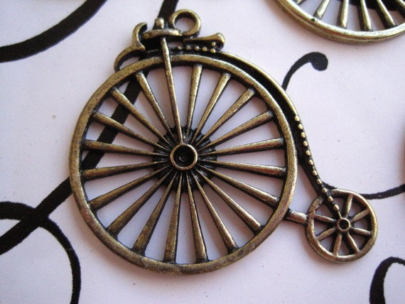 Bicycle Charm 4 pcs Antique Bronze Color 53mm x 46.5mm Lead & Nickel Free