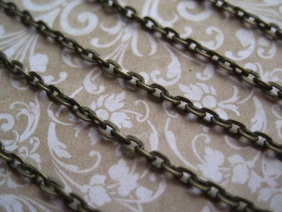 Antique Bronze Chain / End Chain / 10 to 20 Feet Antique Bronze Open Link Chain / 3mm x 2mm