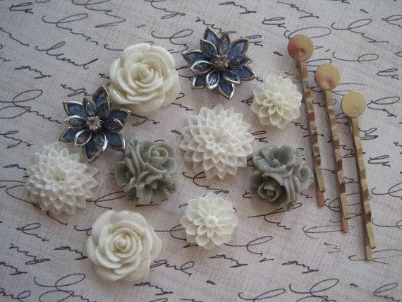 Flower Cabochon Kit- Cabochon Flowers with Bobby Pins / 10 pcs Resin Dahlia Mum Rose Cabochon Kit / Mixed Lot