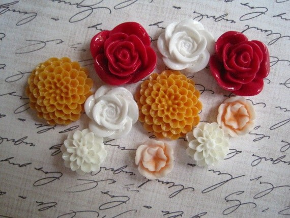 Cabochon Flowers / 10 pcs Resin Dahlia Mum Rose Cabochon