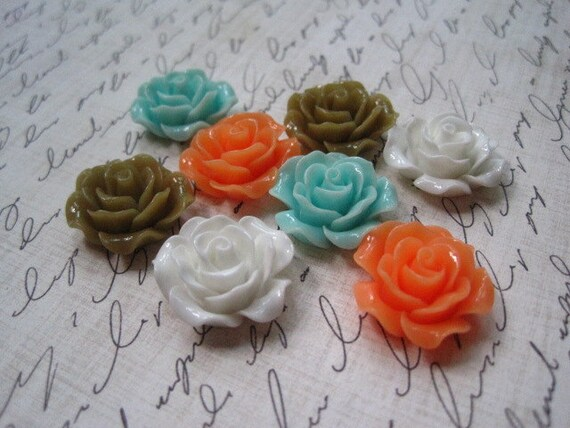 Resin Cabochon Flower / 8 pcs Mixed Lot Roses Cabochon Flat Back 19mm