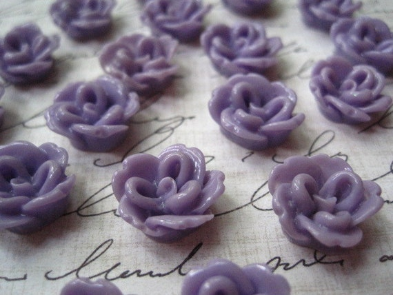 Resin Flower Cabochons / 10 pcs Purple Resin Rose 15mm