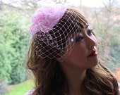 Pink glitter flower pearl headpiece, birdcage veil, wedding hair accessory, sequin fabric, headband, bridal, fascinator