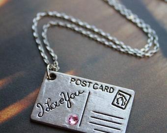 I love you charm, Swarovski rose pink crystal, silver letter pendant necklace, love postcard, vintage inspired, valentine, cute jewellery