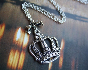Princess crown cute bow Tibetan silver charm pendant necklace, vintage inspired, antique love, valentine gift