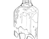 Glass Bottle - Surreal. A bottle of glass and sea glass... A request. Sketch, drawing, abstract, geometric. PRINT
