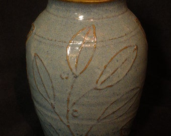 Wheel-thrown stoneware pottery urn