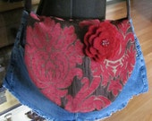 Jean Purse Upcycled Burgundy Brown Floral Ragged Gypsy Bag