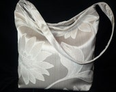 Slouch Sling Bag Purse in Taupe Floral Print