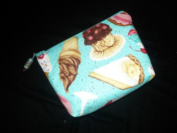Jeweled Cosmetic Make Up Bag Purse, Pouch in Dessert & Ice Cream Print
