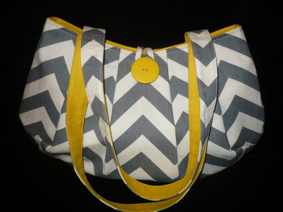 Gray & Yellow Chevron Bag Purse, Shoulder bag, handmade handbag