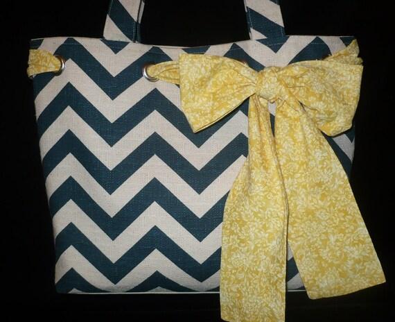 Large Textured Navy & Natural Chevron Tote Bag Purse w Yellow Bow, handmade handbag