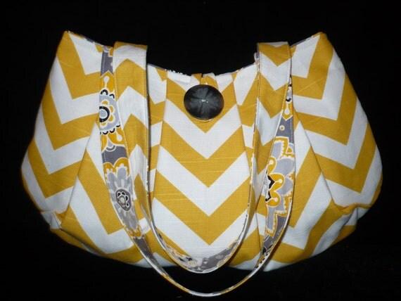 Sunny Yellow/White Chevron Bag Purse Canvas w Gray Print Lining, Pleated, handmade handbag