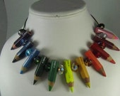 ROY G BIV necklace (Red, Orange, Yellow, Green, Blue, Indigo, Violet) with 11 pencils and matching crystals