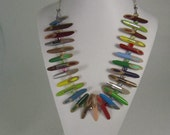 Diagonal Pencil Slices with Swarovski Crystals Between with a Chain.