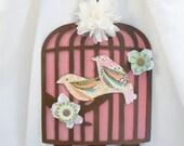 cottage chic vintage inspired birdcage girls bow holder with rosette