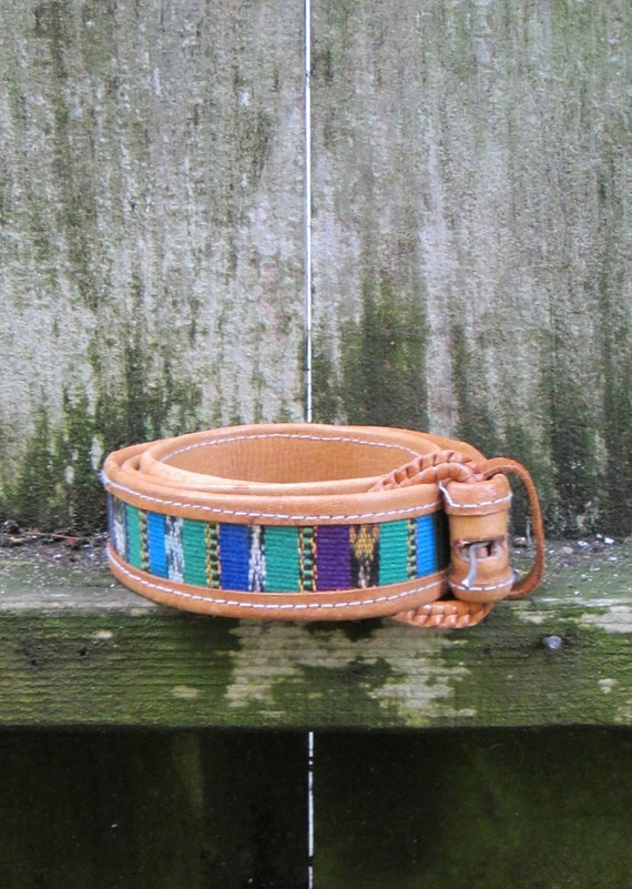 Vintage Multi-Colored Southwestern Guatemalan Leather Woven Belt